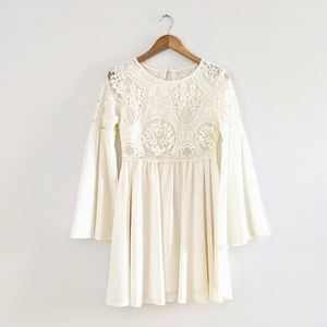 Vintage Ivory Bell Sleeve Lace Mini Dress